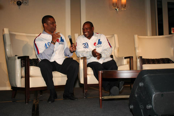 Warren Cromartie and Tim Raines at the 2012 MBP gala dinner in Montreal.